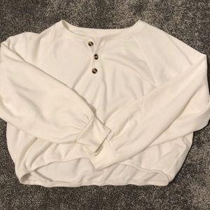 Cinch waist pullover sweatshirt